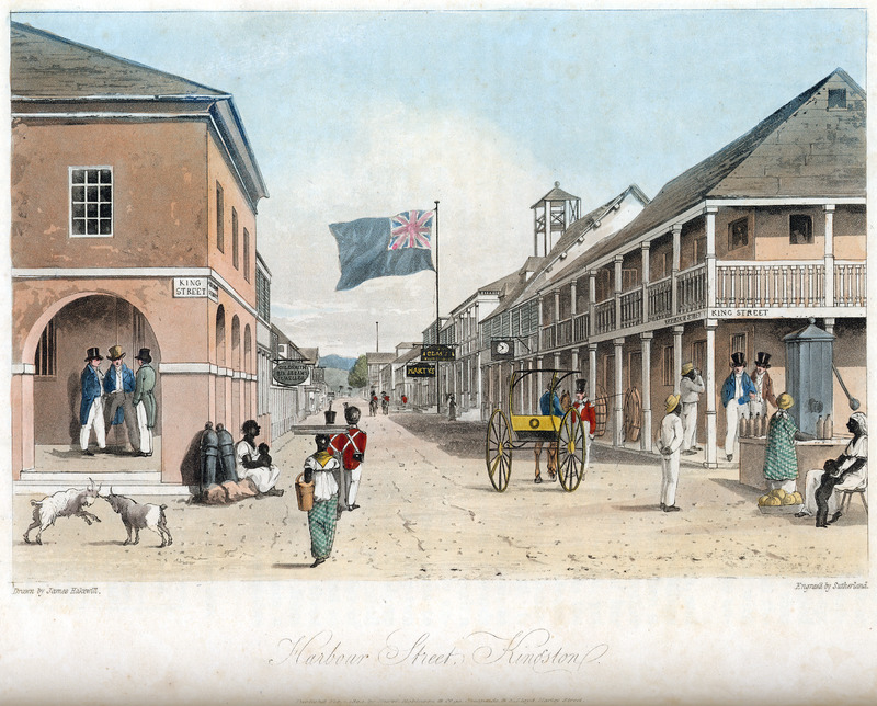 This street scene of Kingston, Jamaica.  view looking eastward. James Hakewill (1778–1843) was an English architect known for illustrated publications. Several of his works relating to Jamaica can be found in T. Barringer, G. Forrester, and B. Martinez-Ruiz, Art and Emancipation in Jamaica: Isaac Mendes Belisario and his Worlds (New Haven: Yale Center for British Art in association with Yale University Press, 2007), passim.