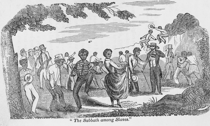 The Sabbath among slaves depicts various activities, e.g., dancing, playing banjo, wrestling, in a romanticized picture of American slave life. Bibb describes this scene: The Sabbath is not regarded by a large number of the slaves as a day of rest . . . . Those who make no profession of religion, resort to the woods in large numbers on that day to gamble, fight, get drunk . . . . This is often encouraged by the slaveholders. When they wish to have a little sport of that kind, they go among the slaves and give them whiskey, to see them dance . . . sing and play on the banjo. Then get them to wrestling, fighting, jumping, running foot races, and butting each other like sheep. this is urged on by giving them whiskey; making bets on them; laying chips on one slave's head, and daring another to tip if off with his hand . . . (pp. 21-23). One of the most celebrated of the North American slave narratives. Bibb was born of a slave mother in Kentucky in 1815, escaped from slavery in 1838, and ultimately became a leading figure in the fugitive slave community of Canada.