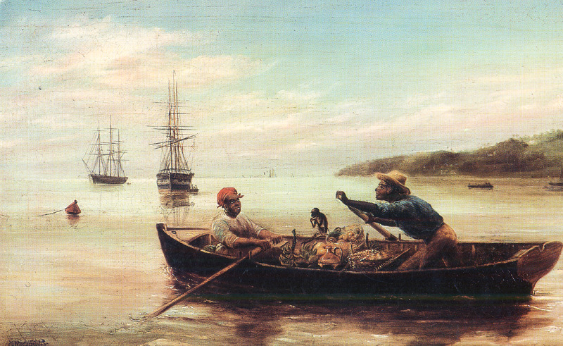 Oil painting, titled Bum Boat in Carlisle Bay, shows boat being rowed by a man (on right) and woman; boat is loaded with fruits and vegetables, and a monkey is sitting on the gunnel. The bumboat, a term used in England for this kind of vessel, was employed to bring provisions and commodities for sale to larger ships in port or offshore. These boats were common in Barbados during the slave and post-emancipation periods. Edwin Stocqueler (also known as Edwin Siddon) was born in India in 1829 of British parents. He lived and painted in Australia from about 1850 to the early 1860s, was in South Africa from 1866 to 1870, and after 1872 he was based in Britain; he died in London in 1895. Although there is presently no direct evidence that he ever visited Barbados or the West Indies, the unusual subject of this painting probably indicates that he visited the area, perhaps during his residence in Britain. In any event, the painting , which is undated, clearly was made in post-emancipation times. The painting currently hangs in Ilaro Court and was bought at auction by the Prime Minister's office in the 1990s (Thanks to Peter Gill and Mimi Colligan for biographical information on Stocqueler; and to Alissandra Cummins for additional information; see also Design and Art Australia online)