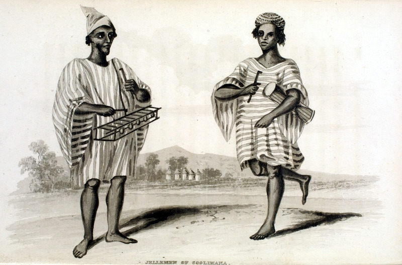 Caption, Jellemen of Soolimana.  The principal instruments used [by the Jelle-men] are the kora, in sound and shape resembling a guitar; the ballafoo [balafon] . . .; different-sized drums; and a flute with three notes, which is only used as an accompaniment to other instruments . . . (p. 369). The author travelled in Sierra Leone in the early 1820s.