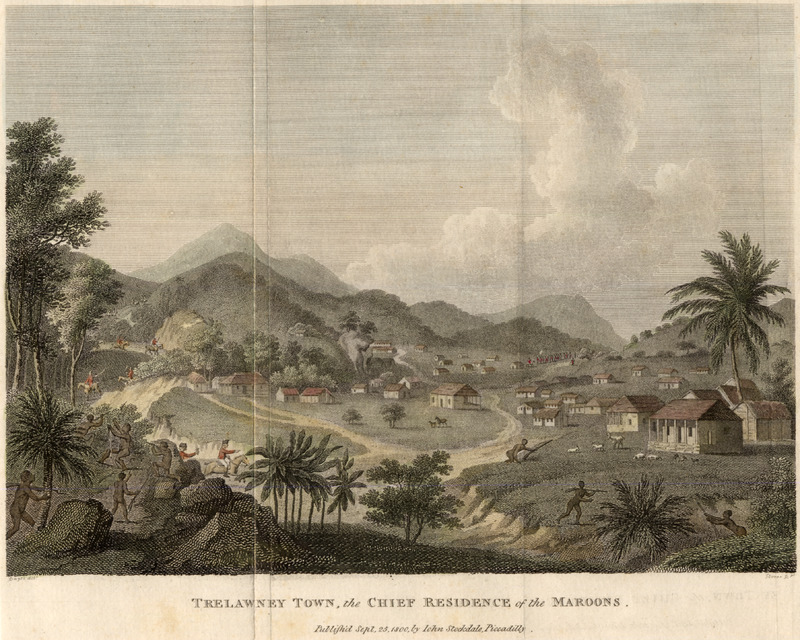 Caption, Trelawney Town, the chief residence of the Maroons; panoramic view of Trelawney Town; a few human figures shown in foreground.