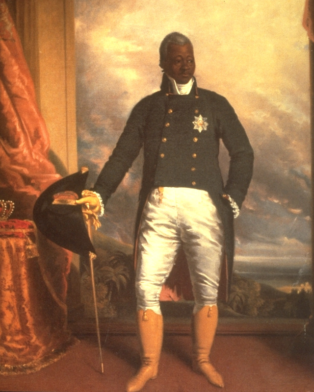 Full-length portrait of Christophe, one of the national heroes of Haiti. He served as a general under Toussaint Louverture, and in 1806 succeeded Dessaline as the president of the newly independent state of Haiti. In 1811, he styled himself as king of the country ( for more details, see Honour, Image of the Black, pp. 109-110).