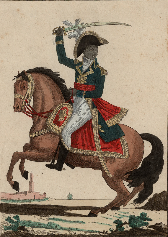 A separately published engraving, hand colored, showing Toussaint astride a horse, in full unform and wielding a sword. One of a number of images of the dominant figure of the celebrated slave revolt in St. Domingue; there are no known eye-witness portraits of him. See also other images of Toussaint on this website.