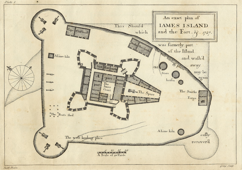 Smith made this drawing for the Royal African Company which claimed the fort. Note the location of the New Barracks (center right) and another slave house (upper center).  For another architectural drawing of this fort, based on a survey close to 30 years later, see image PRO-1.