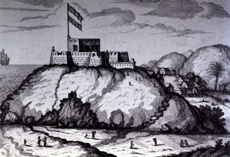 This image shows a view Fort Amsterdam at Cormantin in the Voltaic region. Note the African town on right.