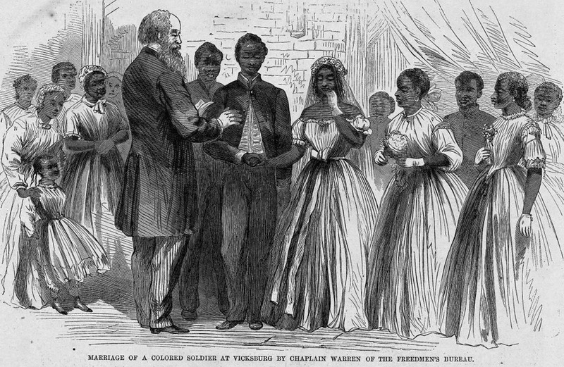 This image depicts a wedding  ceremony. The groom was dressed in a union army uniform. Author comments that the bride was 13 years old. Harper's Weekly: A Journal of Civilization was an American political magazine based in New York City and published by Harper & Brothers from 1857 until 1916. It featured foreign and domestic news, fiction, essays on many subjects and humor, alongside illustrations. It covered the American Civil War extensively, including many illustrations of events from the war.
