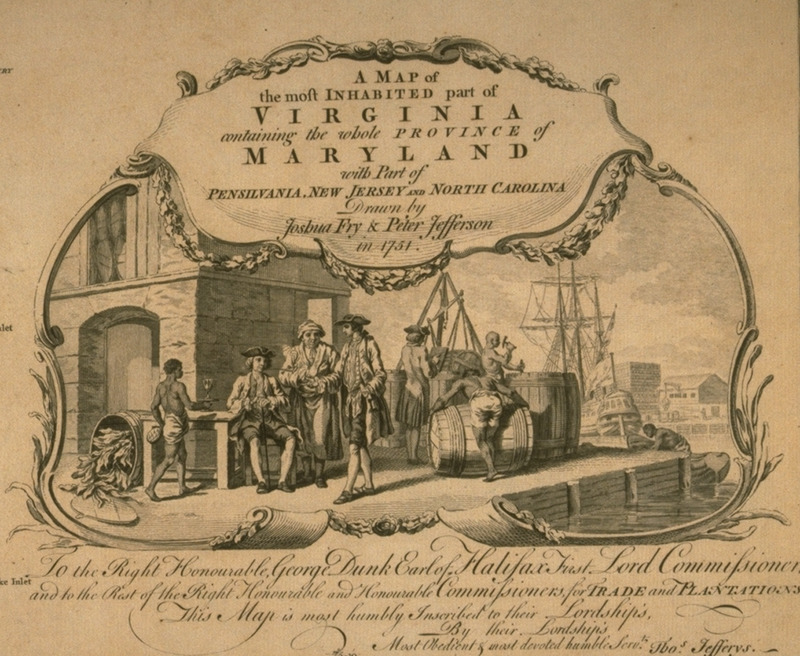 Wharf scene, showing slaves working with hogsheads of tobacco, and white merchants; one of slaves is serving one of the whites with a drink; shipping in background.