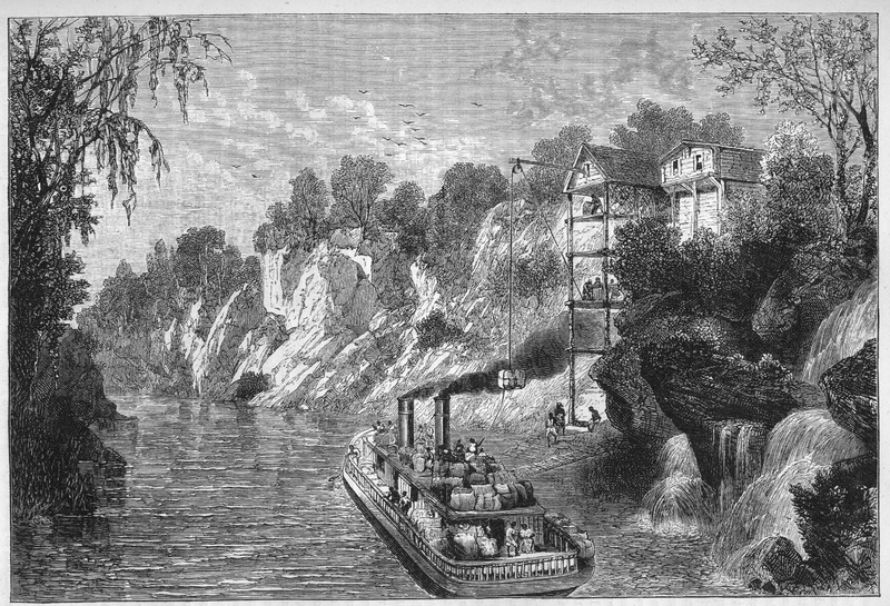 This image is based on an eye-witness sketch by Miss C. Hopley. It reflects a river steamer and the manner in which cotton bales were loaded onto these ships.
