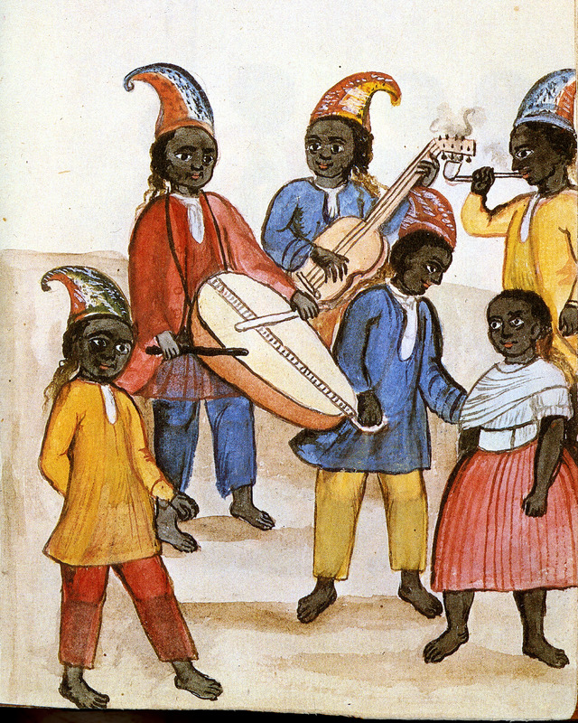 Drawing identified as Danza de Negras shows two black men playing a drum (one end of which is being held by a boy) and guitar; a third is observing and smoking a long-stemmed pipe. A boy and girl are in the scene. All are fully clothed, the men and boys wearing conical caps. This and hundreds of other drawings were done by unidentified Native Americans during the 1780s and were commissioned by the Spanish Bishop Baltazar Jaime Martinez Companon during his pastoral visit to the region of Trujillo in northern Peru. The drawings, spread over nine volumes, are of Spaniards, Native Americans, plants and animals, as well plans and maps of the region. Only Vol. 2 contains a few pictures of blacks, the index to the volume giving very sparse information on each drawing. (See other images Trujillo on this website.)