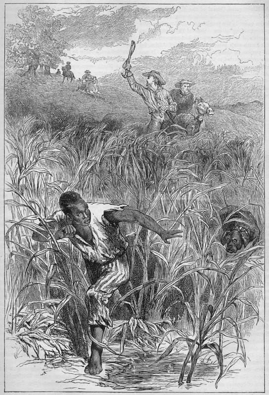 This image reflects an artist's imagined scene showing an enslaved male being chased by white men on horseback. The text accompanying the image discussed slavery in the 1840s, but there is no specific reference to the illustration.