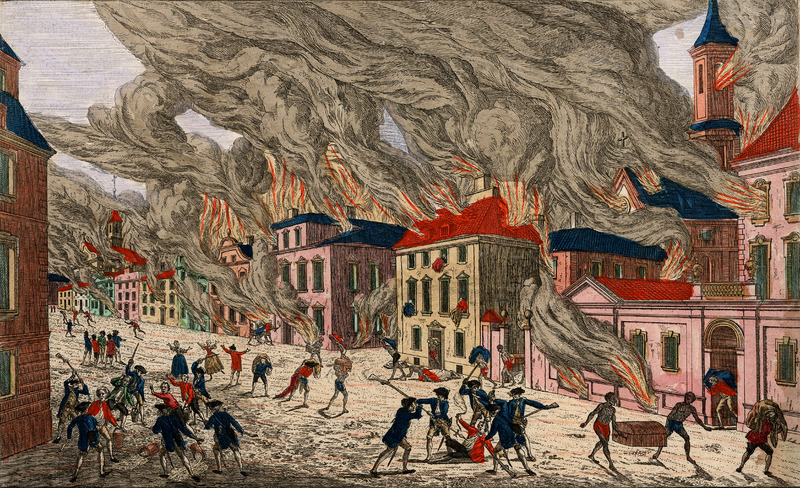 A separately published engraving, hand colored. Depicts fires burning in New York city; shows semi-clad black men carrying trunks and other goods out of burning buildings, fully clothed whites carrying water buckets, etc. The following information is derived from the John Carter Brown Library website, The Archive of Early American Images: Image title in French is printed in reverse above image. Title in German at bottom of image. This perspective view, or vue d'optique, was a special type of popular print published in Europe during the 18th century. These prints were viewed through a device called an optical machine or an 'optique.' On September 21, 1776, a destructive fire raced through New York City after Washington's army abandoned the city to the British. Since firefighting equipment had been sabotaged and warning bells had been melted for bullets by the colonists, the British suspected arson. A large part of the city from Trinity Church to the King's College was destroyed; it was estimated that one fourth of the city's dwellings were lost. This view is probably of a European town and is a fictitious rendering of New York City.