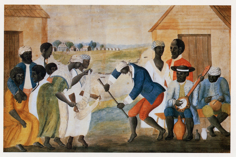 Arguably the best known visual depiction of African American life during the 18th century, this small (approx. 12 x 18) watercolor depicts what appear to be plantation slaves dancing and playing musical instruments.  The artist did not name the painting, but former owners gave it the arbitrary title The Old Plantation by which it is now commonly known. The painting is unsigned, undated and not given a provenience. Recent research by Susan Shames, the decorative arts librarian with CWF, has identified the artist as John Rose, a South Carolina plantation owner. The painting was probably made around 1785-1790, and may depict a scene somewhere on the Coosaw river, in the area of Beaufort. 