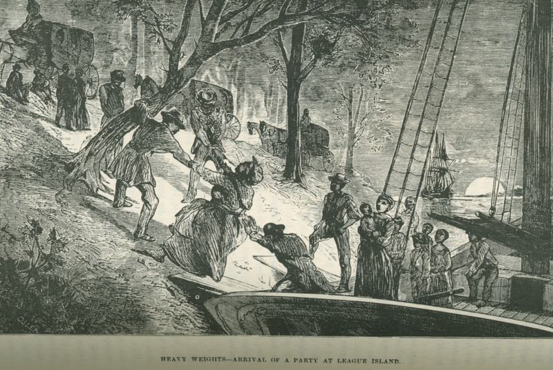 Caption, Heavy Weights-Arrival of a Party at League Island. Runaway slaves being assisted ashore at Philadelphia from schooner which had carried 15 Underground Rail Road passengers. Still was the son of fugitive slaves and headed the underground railroad in Philadelphia through the 1850s (information provided by Phil Lapsansky, Library Company of Philadelphia).