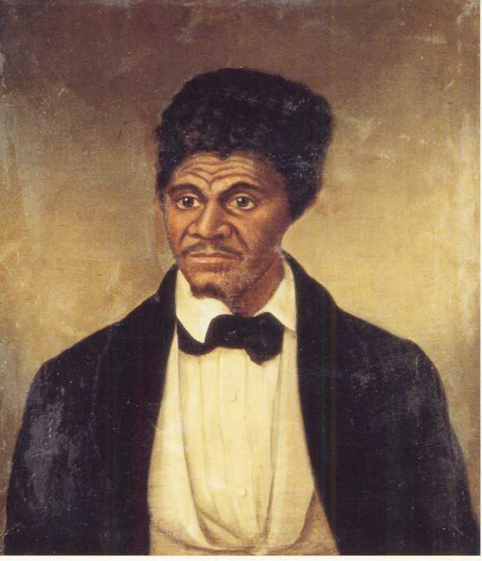 Oil painting by anonymous artist. Born a slave in Virginia in 1799, Scott was taken to St. Louis when in his twenties. He sued for his freedom in 1857 and became a central figure in a major U.S. Supreme Court decision. The Court upheld the right of the state of Missouri to hold him as a slave; thus, his petition for freedom was ultimately denied based on an interpretation of the U.S. Constitution. The portrait is probably based on an engraving of Dred Scott which first appeared in Frank Leslie's Illustrated Newspaper (June 27, 1857), accompanying a lengthy article describing a visit to Scott and his household in 1857 (vol. 4, pp. 49-50). Scott had agreed to go to a studio to have his photograph taken by a Mr. Fitzgibbon of St. Louis. The engraving published in Leslie's Illustrated Newspaper was derived from this photo which, in turn, is identical to the one shown in this painting. The same issue of Leslie's Illustrated Newspaper also has engraved portraits of Scott's wife Harriet and his daughters Eliza and Lizzie, also derived from photographs by Fitzgibbon.