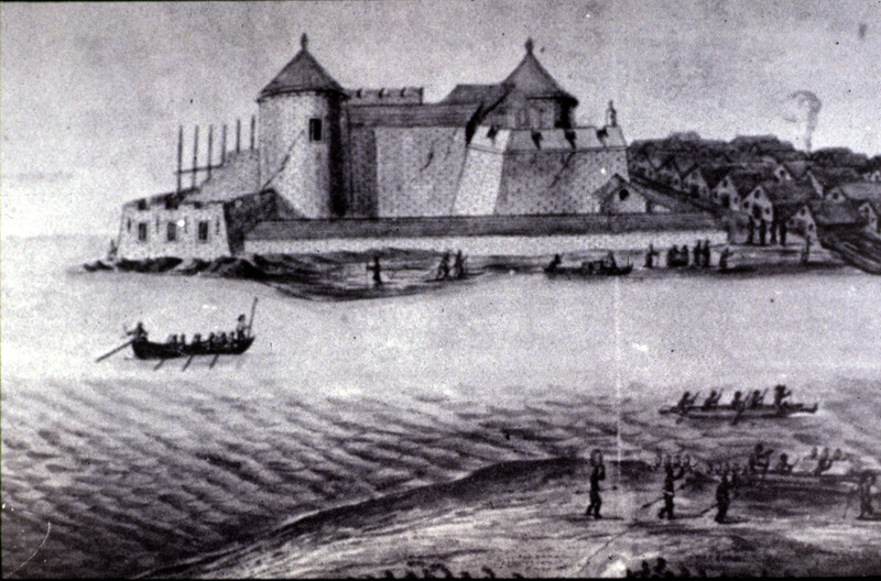 This view of Elmina in the Voltaic region is from the sea and depicts an African town on right. This image was originally drawn by Johannes Vingboon (1616/1617-1670), who was a Dutch artist who never went to Africa.