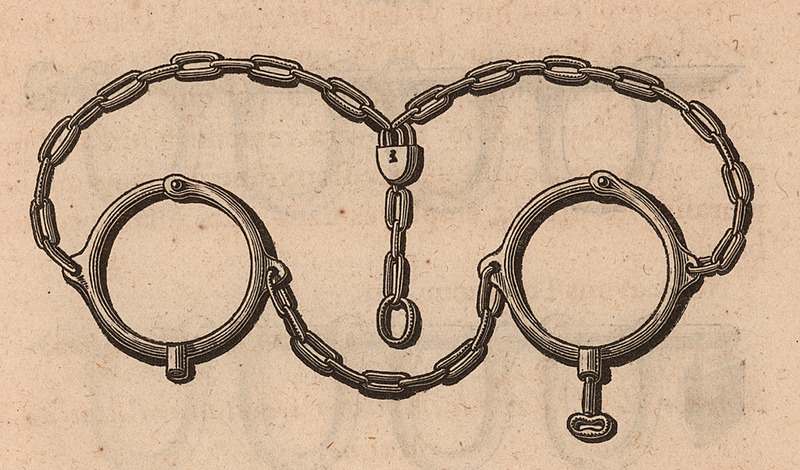 This image appears in a booklet published by a French society against the slave trade. It shows the metal collar and chain used by slavers to attach enslaved captives to one another. The heading says that the explanatory note was provided by a blacksmith from Nantes, presumably the type of person who manufactured such an object (Nantes was France's major slaving port at the time of this publication). The description under the illustration explains that when Africans are captured in the interior, this chain can hold them until they are embarked on the slave ships, and goes into detail on how this apparatus works and is used by slavers as they bring people to the coast. See also JCB_01203-2.