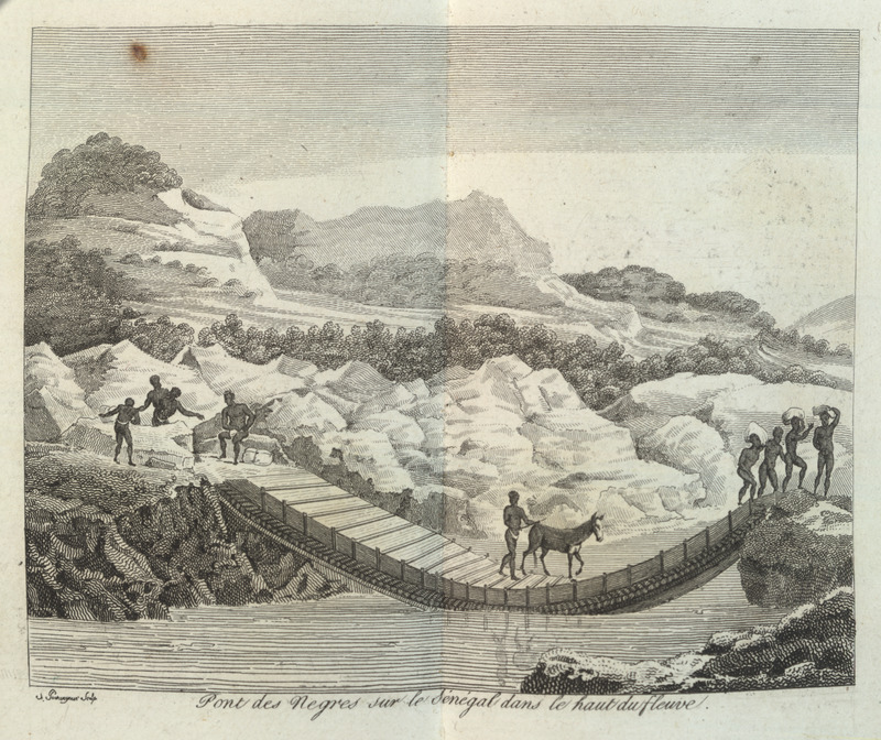 Caption, pont des Negres sur le Sènègal dans le haut du fleuve (Bridge on the Senegal River at flood stage). Villeneuve lived in the Senegal region for about two years in the mid-to-late 1780s. The engravings in his book, he writes, were made from drawings that were mostly done on the spot during his African residence (vol. 1, pp. v-vi). However, with some slight variations, this seems to be a copy of an engraving that originally appeared in Mungo Park's Travels (see image 338a). The same Villeneuve illustration appears in color in the English translation of his book; see Frederic Shoberl (ed.), Africa; containing a description of the manners and customs, with some historical particulars of the Moors of the Zahara . . . (London, 1821).