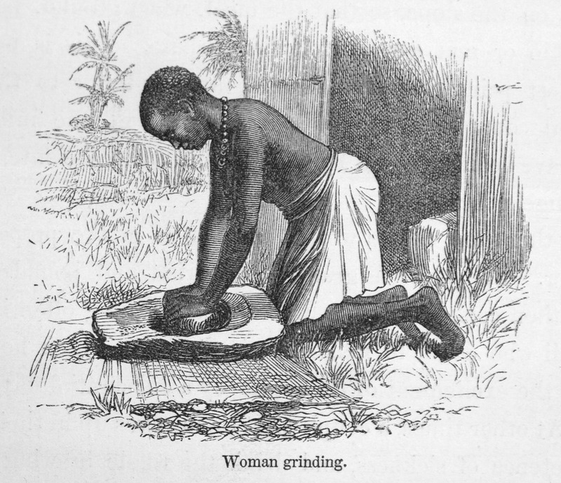 """This image depicts a woman kneeling over grinding stone from the Great Lakes region. Livingstone described how """"the mill consists of a block [of stone]. . . with a piece of quartz or other hard rock about the size of a half brick, one side of which has a convex surface, and fits into a concave hollow in the larger and stationary stone. The workwoman kneeling, grasps this upper millstone with both hands, and works it backwards and forwards in the hollow of the lower millstone"""" (Livingstone, pp. 543-44). David Livingstone (1813–1873) was a famous Scottish physician, Christian missionary, explorer and abolitionist. His interest was to locate the source of the Nile River. His missionary work also reinforced the European """"Scramble for Africa"""" and the colonization of the continent. The same image, albeit reversed, is printed in Frank Leslie's Boy's and Girl's Weekly (1869), vol. 5, no. 122, p. 285."""