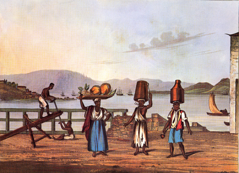 From right to left: man with tin can on his head is a milkman; the woman heading the pail sells water (the iron round her neck showing that she is given to absenting herself in the woods); and a woman who sells fruit. In the left background, two men are sawing wood planks in the usual manner: When a log is to be cut. . . it is securely fastened at about two-thirds of its length by a chain, beneath the vertex of a triangular frame; upon the projecting third, one of the Negroes places himself, the other leisurely taking his seat below. Thus disposed, they commence their work with a short, narrow, powerless saw, generally stopping for a few seconds after every third stroke . . . . This may be taken as a sample of the rude way in which labour of every sort is generally performed in this country; where it would almost seem that, provided the slave be kept constantly employed, the quantity of work done signifies little . .. . The foreground figures in Chamberlain's book were copied from four separate water-colors drawn earlier by Joaquim Candido Guillobel. Born in Portugual in 1787, Guillobel came to Brazil in 1808, and from 1812 started drawing and painting small pictures on cards of everyday scenes in Rio de Janeiro. For biographical details on Guillobel, who died in 1859, and reproductions of about 60 of his original drawings in color (including the ones shown here), see Joaquim Candido Guillobel, Usos e Costumes do Rio de Janeiro nas figurinhas de Guillobel [1978]. The text of this volume is given in both Portuguese and English; the author of the biographical notes who is, presumably the compiler of the volume, is not given in the Library of Congress copy that was consulted. (See this website, Chamberlain for related drawings.)