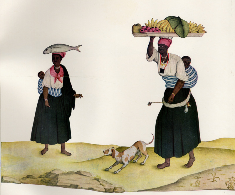 Showing different clothing styles, the woman on the left carries a large fish on her head, and her child strapped to her back. The woman on the right is also shown with her child on her back, and is heading a wooden tray filled with bananas and other fruit; note the long-stemmed pipe in her hand and the amulets around her neck and hanging from the sash around her waist. These amulets, or bolsas de mandinga, were small pouches that contained powerful substances from the natural world--leaves, hair, teeth, powders, and the like. Each bolsa had distinct powers, but the most common ones were believed to protect the wearer from bodily injury (James Sweet, Recreating Africa: Culture, Kinship, and Religion in the African Portuguese World, 1441-1770 [University of North Carolina Press, 2003], p. 180). Born in Italy ca. 1740, Juliao joined the Portuguese army and traveled widely in the Portuguese empire; by by the 1760s or 1770s he was in Brazil, where he died in 1811 or 1814. For a detailed analysis and critique of Juliao's figures as representations of Brazilian slave life, as well as a biographical sketch of Juliao and suggested dates for his paintings, see Silvia Hunold Lara, Customs and Costumes: Carlos Juliao and the Image of Black Slaves in Late Eighteenth-Century Brazil (Slavery & Abolition, vol. 23 [2002], pp. 125-146).