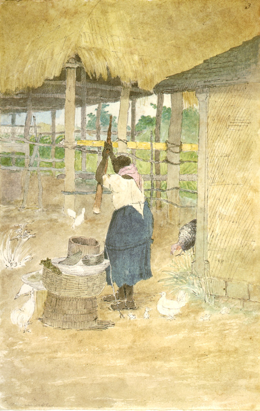 This watercolour shows the back of a woman who is wearing sandals and pounding cassava/manioc in a wooden mortar with a pestle in a yard before a thatched-roof house. William Berryman was an English artist who lived in Jamaica for eight years between 1808 and 1816. He produced about 300 pencil drawings and watercolour of people, landscape, settlements, and flora in the island's southern parishes and the general region surrounding Kingston. Several other Berryman works are reproduced in T. Barringer, G. Forrester, B. Martinez-Ruiz, et al., Art and Emancipation in Jamaica: Isaac Mendes Belisario and his Worlds (New Haven: Yale Center for British Art in association with Yale University Press, 2007).
