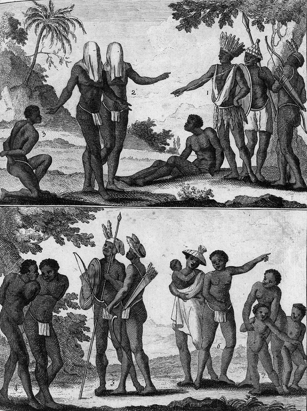 In a chapter on the trade of West Africa, various regions are described, including Sierra Liona [sic]. Based on unidentified sources the author gives an overview of the people and customs of the area. For this image, titled Roy qui rend la justice (King who dispenses/administers justice), the text notes that the people in this area only enslave people who they capture in warfare and criminals or evil-doers. The king is the chief judge; he chooses several counselors to help him decide different cases among his subjects who plead their own causes/or defend themselves. . . but so that the judges cannot show favoritism, the litigants are required to wear masks over their faces (pp. 166-67; our translation).