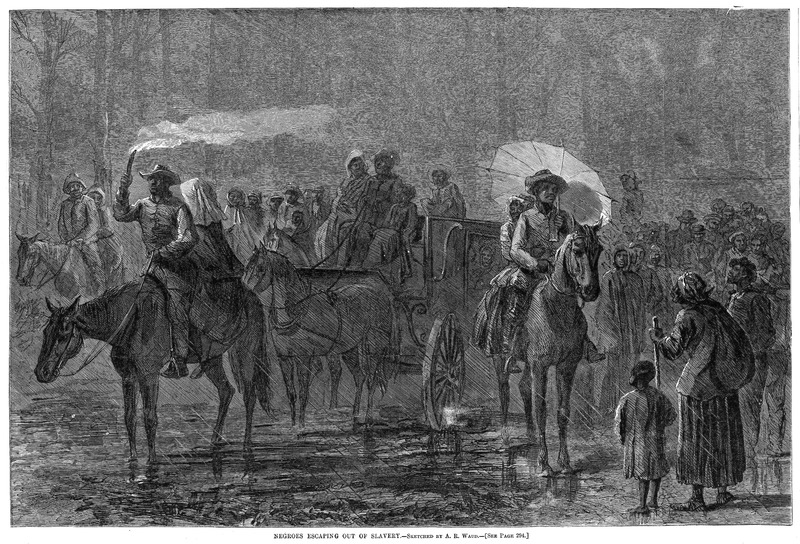 This image shows self-liberating men, women, and children during a night time escape. No specific location is given for this illustration and it is not based on a particular incident. The artist sketched this scene from various accounts about slaves leaving their plantations in the South and following Union troops. Harper's Weekly: A Journal of Civilization was an American political magazine based in New York City and published by Harper & Brothers from 1857 until 1916. It featured foreign and domestic news, fiction, essays on many subjects and humor, alongside illustrations. It covered the American Civil War extensively, including many illustrations of events from the war.