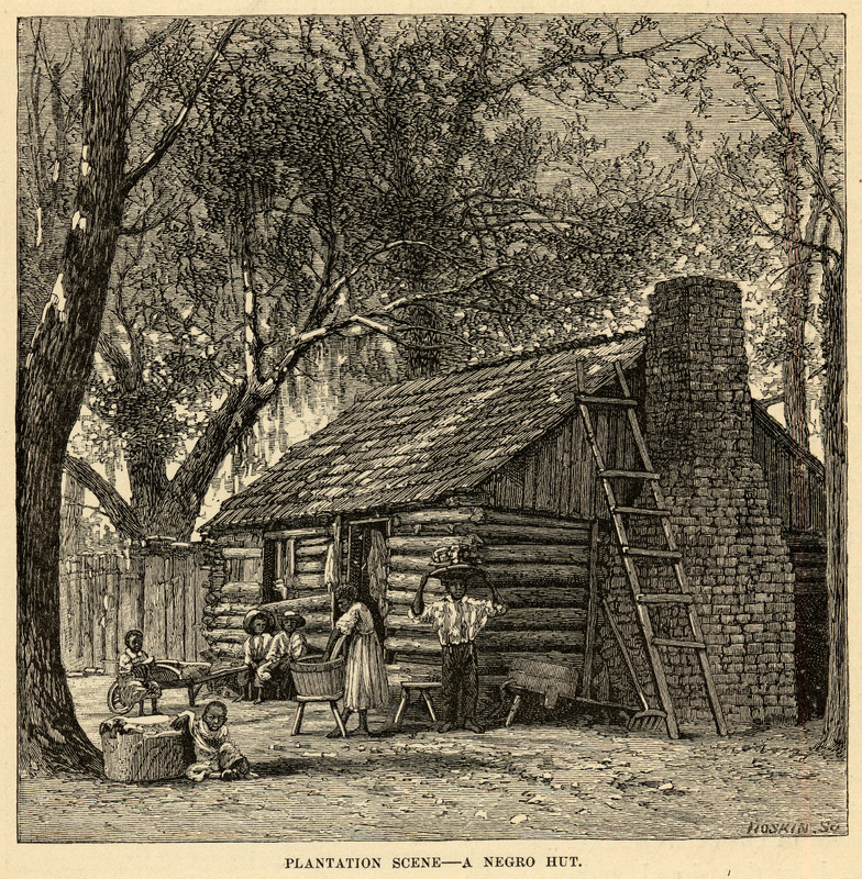 This image shows a wood-shingled log cabin with a woman outside washing clothes in a tub, while children played and a man carried goods on his head. Although post-emancipation, this scene evokes the late slave period. Charles Carleton Coffin (1823-1896) was one of the most well-known newspaper correspondents of the American Civil War. Long was loyal to the Union and opposed slavery.