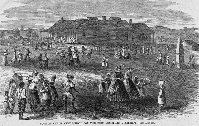 This illustration depicts a busy schoolyard with children and white teachers. Harper's Weekly: A Journal of Civilization was an American political magazine based in New York City and published by Harper & Brothers from 1857 until 1916. It featured foreign and domestic news, fiction, essays on many subjects and humor, alongside illustrations. It covered the American Civil War extensively, including many illustrations of events from the war.