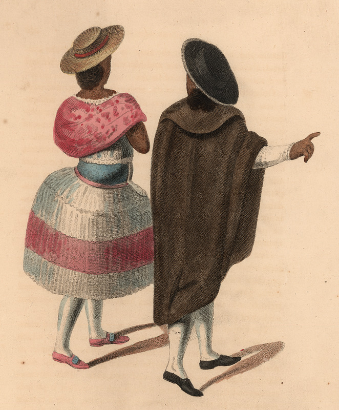 Hand colored engraving, shows a man and woman wearing cloaks and hats and captioned Mulattoes of Quito.