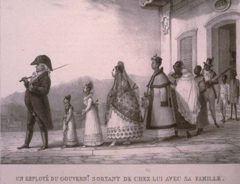 Caption, un employé du govern't sortant de chez lui avec sa famille (a government employee leaving his house with his family); note house slaves at the rear of this procession. The engravings in this book were taken from drawings made by Debret during his residence in Brazil from 1816 to 1831. For watercolors by Debret of scenes in Brazil, some of which were incorporated into his Voyage Pittoresque, see Jean Baptiste Debret, Viagem Pitoresca e Historica ao Brasil (Editora Itatiaia Limitada, Editora da Universidade de Sao Paulo, 1989; a reprint of the 1954 Paris edition, edited by R. De Castro Maya).