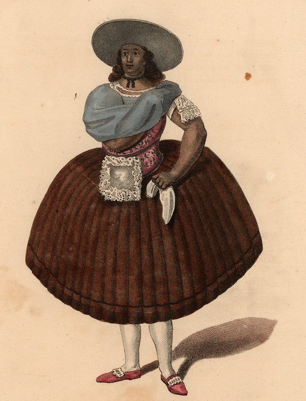 A hand colored engraving, captioned Female domestic of Lima of the Class of Quarterons, shows the clothing style.