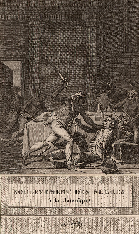 An artist's imagined scene, titled Soulevement des Negres a la Jamaique en 1759 (uprising of the blacks in Jamaica in 1759), of a Jamaican slave revolt, this picture shows blacks attacking whites with swords/cutlasses.