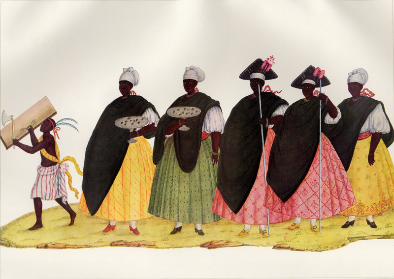 Shows elaborate clothing styles of female slave participants in the festival; they wear high heeled shoes with buckles, necklaces and other jewelry. Two of the women carry silver trays filled with coins which they begged from spectators. The group follows a small boy wearing colorful clothing adorned by feathers, holding a piece of wood and a small ax. Born in Italy ca. 1740, Juliao joined the Portuguese army and traveled widely in the Portuguese empire; by the 1760s or 1770s he was in Brazil, where he died in 1811 or 1814. For a detailed analysis and critique of Juliao's figures as representations of Brazilian slave life, as well as a biographical sketch of Juliao and suggested dates for his paintings, see Silvia Hunold Lara, Customs and Costumes: Carlos Juliao and the Image of Black Slaves in Late Eighteenth-Century Brazil (Slavery & Abolition, vol. 23 [2002], pp. 125-146).