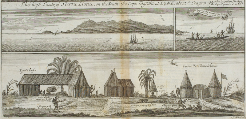 Bottom shows various structures and activities in a Sierra Leone village. Barbot was Agent-General of the Royal Company of Africa . For details, see P.E.H. Hair, Adam Jones, and Robin Law, eds., Barbot on Guinea: The Writings of Jean Barbot on West Africa 1678-1712 (London: The Hakluyt Society, 1992), and image reference 2-312 on this website. A version of the bottom engraving is also published in, Thomas Astley (ed.), A New General Collection of Voyages and Travels (London, 1745-47), vol. 2, plate xxvi, facing p. 313.