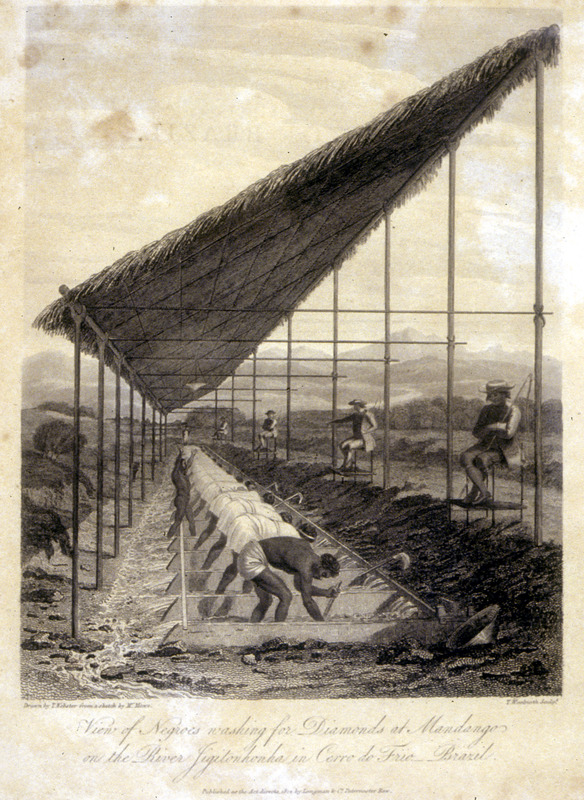 Caption, view of Negroes washing for diamonds at Mandango on the river Jigitonhonha [Jeguitinhonha] in Cerro do Frio [Serro Frio]; line of slaves at work, with white overseers/guards. This image was perhaps derived from one done in the eighteenth century; see Julio05 on this website.