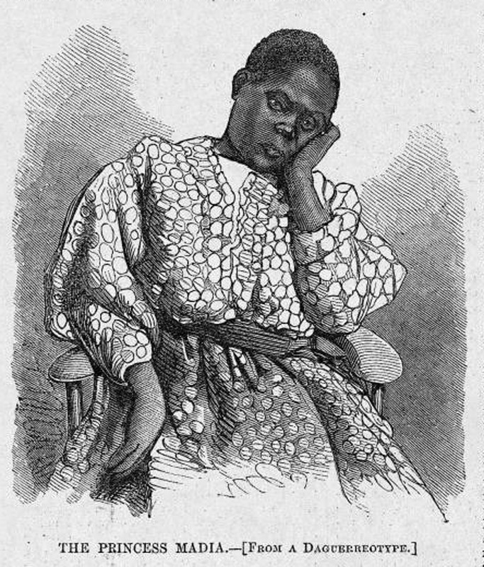 Princess Madia was a captive on the Wildfire, an American slave ship captured by the U.S. Navy in 1860. Originally from the Kwanza North region, Madia was called princess by the Wildfire's crew because of her dignified personal appearance and the deference that she received from some of the captured slaves. The original 1860 photograph, by an unidentified photographer, from which the Harper's image was taken, is published in Ellen Dugan, ed., Picturing the South, 1860 to the Present (San Francisco, Chronicle Books, 1996, p. 30) with a companion image showing Madia, nude from the waist up and displaying her country marks (i.e., scarification patterns) in her abdominal area. The photographs are held by a private collector, but neither is identified in the Dugan volume. See image E027 in relation to the Wildfire. Harper's Weekly: A Journal of Civilization was an American political magazine based in New York City and published by Harper & Brothers from 1857 until 1916. It featured foreign and domestic news, fiction, essays on many subjects and humor, alongside illustrations. It covered the American Civil War extensively, including many illustrations of events from the war.
