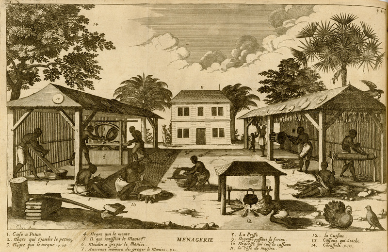 Titled Ménagerie, the engraving illustrates the yard of a large farm or plantation, showing various steps in the processing of tobacco and manioc with enslaved men and women performing the tasks. The captions underneath are linked to numbers on the engraving. Tobacco is depicted with its 1) storage shed, and processing the leaf by 2) stripping, 3) twisting or rolling, and 4) hanging it to dry. The manioc plant is 5) scraped, 6) grated by a hand powered mill (7 shows the old method of grating), and 8) pressed in the device shown here; 9) depicts the flour being sifted and 10) cooked or baked into cassava bread, and 13) the bread drying. Also shown are 12) the kitchen, 14) the sugar apple tree (custard apple, sour sop, etc.) [ corassole on the image and corosol in the text], and, in the center background 11) the master's house.
