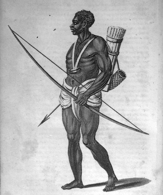 Captioned, A warrior with poisoned arrows, shows a man wearing a loin cloth, holding a bow in one hand, an arrow in another, with a quiver of arrows on his back; what appears to be a gris-gris or amulet hangs around his neck. The author, a surgeon aboard the Favourite, made the various sketches from which the accompanying engravings have been produced . . . the drawings and portraits were made on the spot (pp. iii-iv).