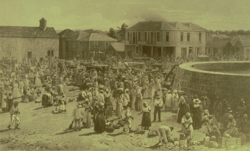 Lithograph from a daguerreotype. Although in the post-emancipation period, the scene would not have been very different in the later slave period. (Slide of illustration provided by Jean Howson from a copy of the book held by the National Library of Jamaica.)
