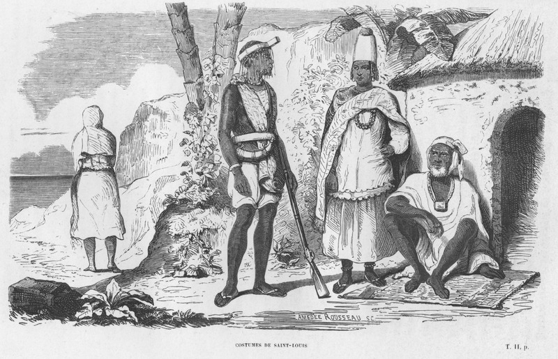 Caption: Costumes de Saint-Louis, shows male and female figures and their clothing, hair styles, jewelry, protective amulets; one man holds a rifle and powder horn.