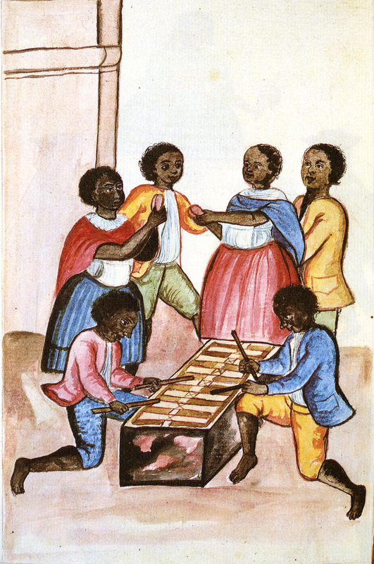 Drawing identified as Negros tocando marimba y bailando (blacks playing the marimba and dancing), shows males and females, all fully clothed. Two men are playing a marimba/xylophone, the other people appear to be dancing. This and hundreds of other drawings were done by unidentifed Indians during the 1780s and were commissioned by the Spanish Bishop Baltazar Jaime Martinez Companon during his pastoral visit to the region of Trujillo in northern Peru. The drawings, spread over nine volumes, are of Spaniards, Native Americans, plants and animals, as well plans and maps of the region. Only Vol. 2 contains a few pictures of blacks, the index to the volume giving very sparse information on each drawing. (See other images Trujillo on this website.)  j