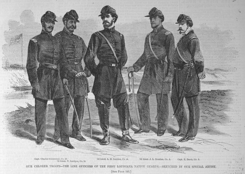 This engraving shows five officers of the 1st Louisiana Native Guards, including, from left to right, Charles Sentmanat, V. Lavigne, D. Larrieu, J. L. Montieu and E. Davis. This unit of free people of color formed in April 1861 as part of the Louisiana militia, but switched to the union side in 1862. For details on these troops, their capacity for work and racial characteristics, refer to the article accompanying this image (p. 143); and James G. Hollandsworth, The Louisiana Native Guards: The Black Military Experience During the Civil War (Louisiana State University Press, 1995). Harper's Weekly: A Journal of Civilization was an American political magazine based in New York City and published by Harper & Brothers from 1857 until 1916. It featured foreign and domestic news, fiction, essays on many subjects and humor, alongside illustrations. It covered the American Civil War extensively, including many illustrations of events from the war. See also image HW1863b.