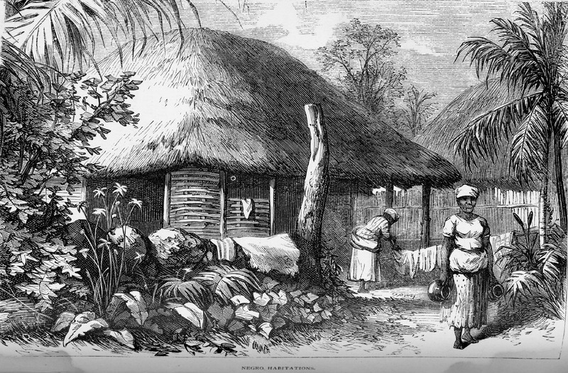 """This illustration of a thatched roof hut has two enslave people out front doing chores. Hazard explained """"the house itself was a substantial wooden building in the usual fashion of the country, with several rooms, the main one being filled with quite a number of women of all ages, busying themselves by candlelight in shelling the native white and read bean"""" (p. 368). Samuel Hazard (1834-1876) was an American publisher and bookseller from Pennsylvania, who collected engravings and prints. After joining the union army, he rose through the ranks as brevet major until he resigned on surgeon's certificate of disability in 1865. After, he traveled to Cuba and Santo Domingo as a correspondent of the Philadelphia Press during protracted conflict related to the decolonization of the Spanish Caribbean. See image Hazard3."""