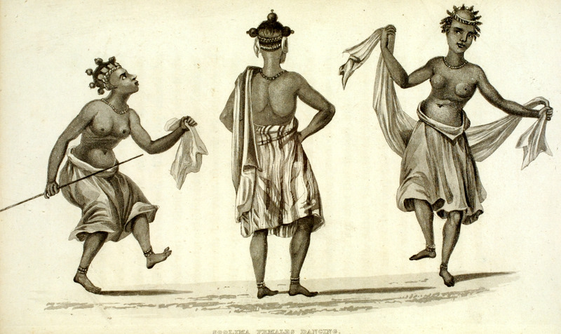 Caption, Soolima Females Dancing. The author, who traveled in the region during the early 1820s, gives a lengthy description of a dance he witnessed and the attire of the women dancers. Their hair was divided, and arranged into a number of small balls, which were . . . surmounted by beads, cowries, and pieces of red cloth, the interstices being smeared nearly an inch thick with fresh butter . . . adopted as a substitute for palm-oil; the ancles and wrists were beautifully ornamented with strings of pound beads of various colours, laced tightly together in depth about fifteen or twenty strings. The public dancing and singing women were distinguished from the others by the profusion of their head ornaments, their large gold ear-rings shaped like a heart, and rich silk or taffeta cloths and shawls, the latter of which, suspended from the shoulders, and supported on the arms, were brought into graceful action in the dance  (pp. 310-11).