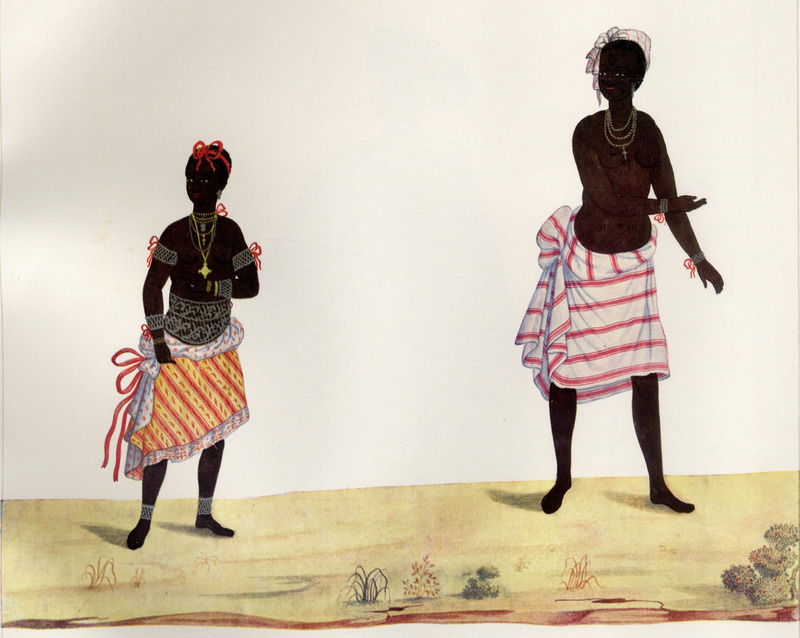 The occupations of these women are not identified; the author draws attention to their clothing as variants of a number of styles worn by slave women in Rio; note the jewelry. Born in Italy ca. 1740, Juliao joined the Portuguese army and traveled widely in the Portuguese empire; by the 1760s or 1770s he was in Brazil, where he died in 1811 or 1814. For a detailed analysis and critique of Juliao's figures as representations of Brazilian slave life, as well as a biographical sketch of Juliao and suggested dates for his paintings, see Silvia Hunold Lara, Customs and Costumes: Carlos Juliao and the Image of Black Slaves in Late Eighteenth-Century Brazil (Slavery & Abolition, vol. 23 [2002], pp. 125-146).