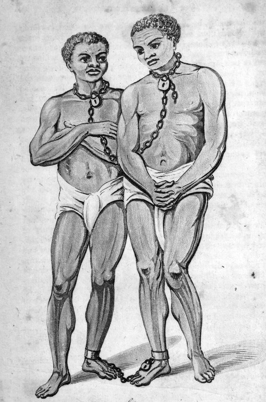 Captioned, Slaves: Shewing the method of chaining them, this illustration portrays two (young) men wearing loin cloths. They are linked to each other by a chain, each end of which is padlocked around the neck of each person; similarly, padlocked ankle manacles are on the right leg of one and the left leg of the other. The author, a surgeon aboard the Favourite, made the various sketches from which the accompanying engravings have been produced . . . the drawings and portraits were made on the spot (pp. iii-iv).