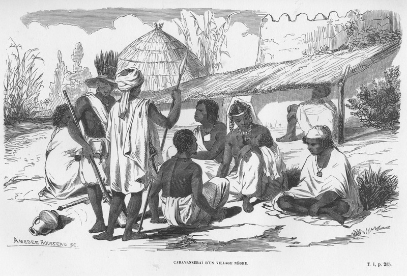 Caption: Caravanseri d'un village Negre, shows group of men and women (one is nursing her baby), lounging in a village; clothing styles, jewelry, and other objects of material culture are shown, including pottery, rifle, spear, protective amulets. The two men in the foreground (one with a rifle, the other with a spear) are apprently members of a caravan (caravanseri), although all persons shown may be part of that group.