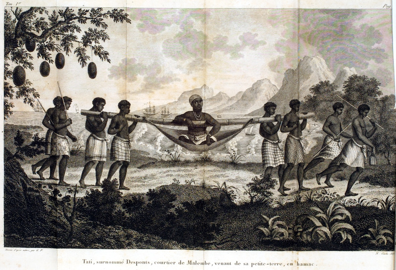 Caption, Tati, surnommè Desponts, courtier de Malembe, venant de sa petite-terre, en hamac. Shows a Congolese nobleman/wealthy man, carried on a hammock, suspended from a large pole and carried by four men (slaves?). The author notes that Congolese blacks travel on foot if they are not wealthy or cannot afford to travel by hammock, as illustrated here. The hammock is made of cotton, and is suspended from a bamboo pole which is carried by four porters. He gives a lengthy description of the hammock's construction and how the traveller is positioned in it (pp. 98-99; our translation). Author was a French Naval officer who was mainly in the Angola region; engravings in his book were made from drawings done from his own observations in 1786-87.