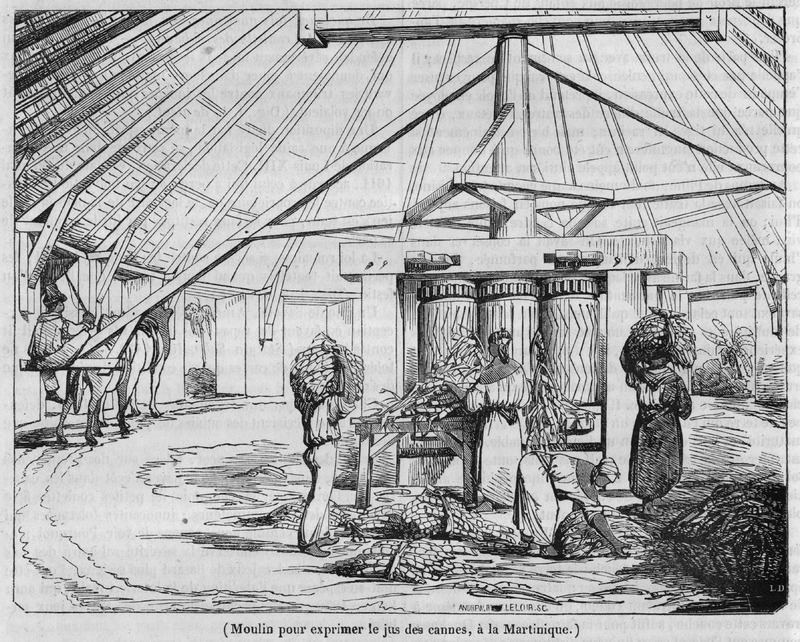 This illustration accompanies a general article on the history of sugar manufacture; the article also gives a detailed description of the processes employed at the time in the French West Indies. Shown here is a vertical, three-roller sugar mill powered by a horse or mule; enslaved women are feeding the cane stalks into the rollers (see also image Magasin3)